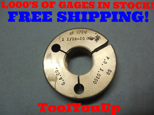 1 1 16 20 Unf 3a Thread Ring Gage 1 0625 Go Only P d 1 0300 Tooling Tool