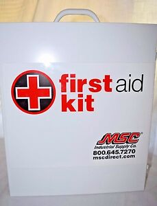 Msc Industrial First Aid Kit Large Wall Mounted Metal Emergency Cabinet