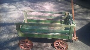 Antique 1800 S Child S Farm Wooden Wagon Yellow Stencil Red Wheels