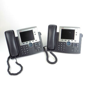 lot Of 2 Cisco 7945 cp 7945g Ip Office Lcd Telephone Voip Gray W Handset