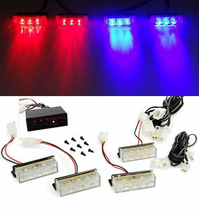 12v Blue Red 12 Led Car Front Grille Deck Emergency Warning Lights Strobe Lamp