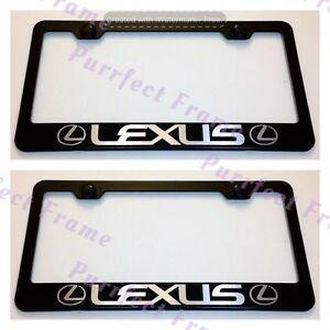 2x Lexus With Logo Black Stainless Steel License Plate Frame Rust Free W Boltcap