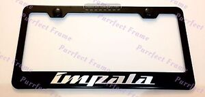 Chevy Impala Laser Style Black Stainless Steel License Plate Frame W Bolt Cap