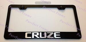 Chevy Cruze Laser Style Black Stainless Steel License Plate Frame W Bolt Cap