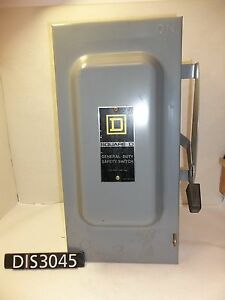 Square D 240 Volt 100 Amp Non Fused Disconnect Safety Switch dis3045