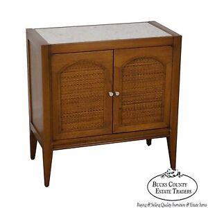 Mid Century Modern Walnut Paul Mccobb Style Marble Top Cabinet Console