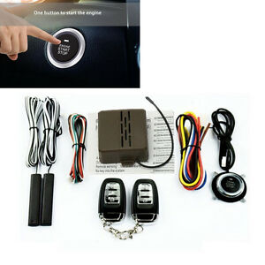Car Security Alarm System Keyless Entry Remote Start Push Button Engine Starter