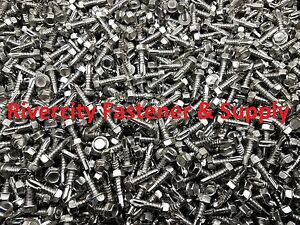 1000 Hex Washer Head 12x1 Self Drilling Tek Screw 2 Point Stainless Steel