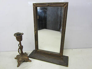 Vintage Wooden Stand Up Vanity Mirror Art Nouveau Candlestick
