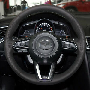 Genuine Leather Steering Wheel Cover Stitch On Wrap For 17 18 Mazda 3 Cx 5 Cx 9