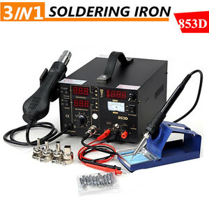 3in1 853d Smd Dc Soldering Station Power Supply Hot Air Iron Gun Rework Welder