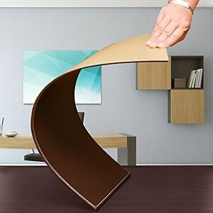 Computer Leather Desk Pad Stylish Mat Cover Reversible Color Design Brown Khaki