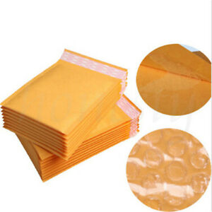 50 100pcs Yellow Kraft Bubble Mailers Padded Envelopes Shipping Bags Self Seal