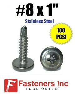 100 8 X 1 Stainless Steel Phillips Modified Truss Head Self Drilling Screw