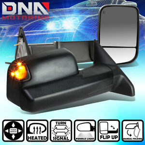 For 2009 2016 Dodge Ram Truck Pair Powered Heated Led Turn Signal Towing Mirror