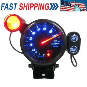 3 5 Inch Car Blue Led Tachometer Gauge Auto Meter With Shift Light 11000 Rpm Us