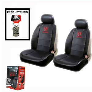 New Ram Head Synthetic Leather Car Truck 2 Front Sideless Seat Covers Set