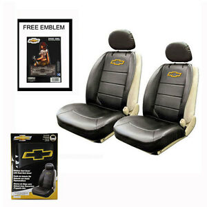 New Chevy Elite Synthetic Leather Car Truck 2 Front Seat Covers Set Free Sticker