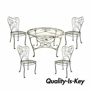 Vtg Art Nouveau 5 Pc Wrought Iron Patio Dining Set Round Table 4 Chair Salterini