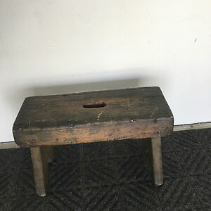 Antique Primitive Painted Wood Stool Sitting Bench Possibly Milking Stool