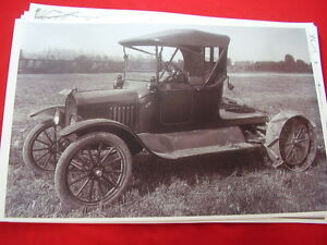 Ford Model T Roadster With Tractor Attachment 11 X 17 Photo Picture