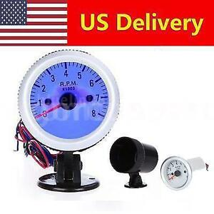Auto Meter Led Blue Pointer Tachometer 8000 Rpm Holder Cup Mount 2 52mm Us