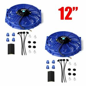 2x 12 Inch Slim Fan Push Pull Electric Radiator Cooling Mount Kit Blue Universal