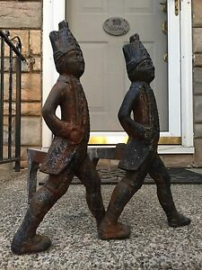 Antique Fireplace Cast Iron Andirons Hessian Soldiers With Swords