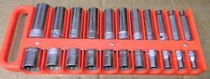 Snap on 1 2 Drive 22pc Sae 12pt Deep Shallow 7 16 1 1 16 Socket Set