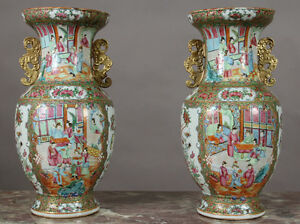 Pair Of Chinese Export Rose Medallion Cabinet Vases