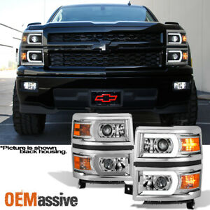 Fit 2014 2015 Chevy Silverado 1500 Led Drl U Neon Bar Style Projector Headlights