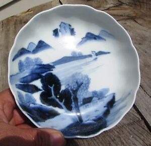 Beautiful Antique Chinese Export Porcelain Blue And White Porcelain Bowl