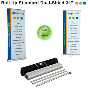 31 x79 Retractable Banner Stand Double sided For Trade Shows More