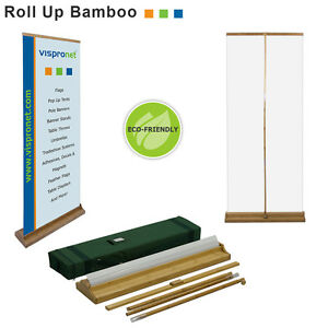 34 x80 Bamboo Retractable Banner Stand For Trade Shows Retail Displays
