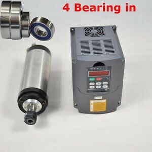 100mm Diameter Er20 Water cooled Spindle Motor 3kw Four Bearing And Inverter Top