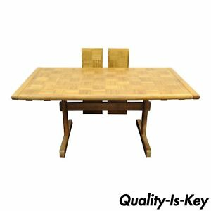 Meblo Extension Dining Room Kitchen Table Trestle Maple Oak Parquetry Vtg Modern