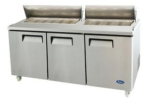 72 Commercial Mega Top Refrigerated Salad Sandwich Prep Table 3 Doors