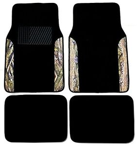 Surreal Camouflage 4 Piece Car Truck Twoet Floor Mats Forest Pattern Black Color