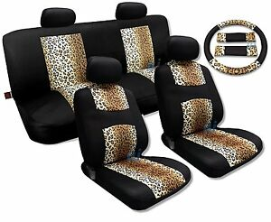 Cool Fur Print Tan Leopard Black Knit Meanimal Print Seat Cover Set Toyota Camry