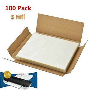 100 Clear Letter Size Thermal Laminator Laminating Pouches 9 X 11 5 Sheets 5 Mil