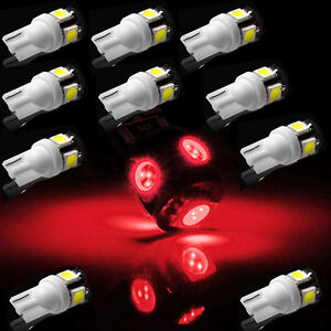 10x T10 Wedge Red 194 Led 168 W5w 5smd Car Interior Tail Dome Light Bulb 2825