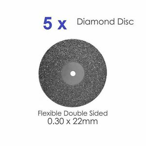Double Sided Diamond Disc X 5 For Dental Lab 0 30 X 22mm 2