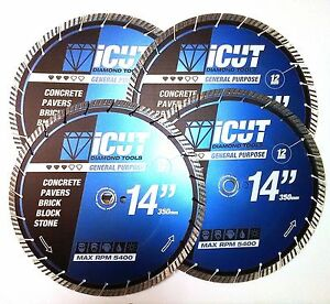 5 Pack 14 Cutting Saw Turbo Diamond Blades 12mm Brick Block Concrete Pavers