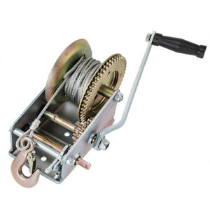 3500lbs Dual Winch Gear Hand Crank Manual Trailer 33ft Cable Boat Atv Rv Trailer