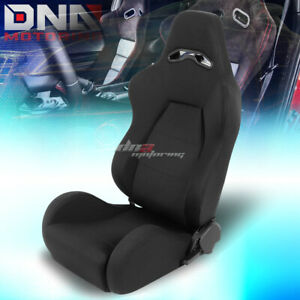Full Reclinable Black Stitching Woven Cloth Bucket Racing Seat Driver Left Side