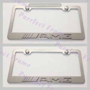 2x Mercedes Amg 3d Emblem Stainless Steel License Plate Frame Rust Free W cap
