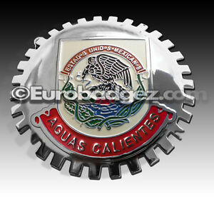 1 New Chrome Front Grill Badge Mexican Flag Mexico Medallion Aguas Calientes