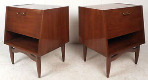 Pair Of Mid Century Modern Night Stands By American Of Martinsville 6457 Nj