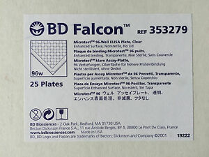 New Box Of 25 Bd Falcon 353279 Microtest 96 well Elisa Plates Clear