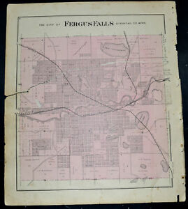 1884 Otter Tail County Map Minnesota City Of Fergus Falls
